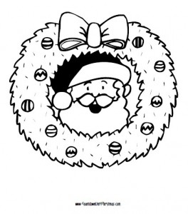 santa and wreath coloring page