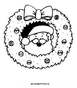 santa and wreath coloring page