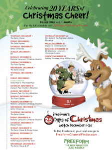 "Freeform (ABC Family) Celebrates 20 Years of Christmas Cheer with the ""25 Days of Christmas"" Printable Schedule"