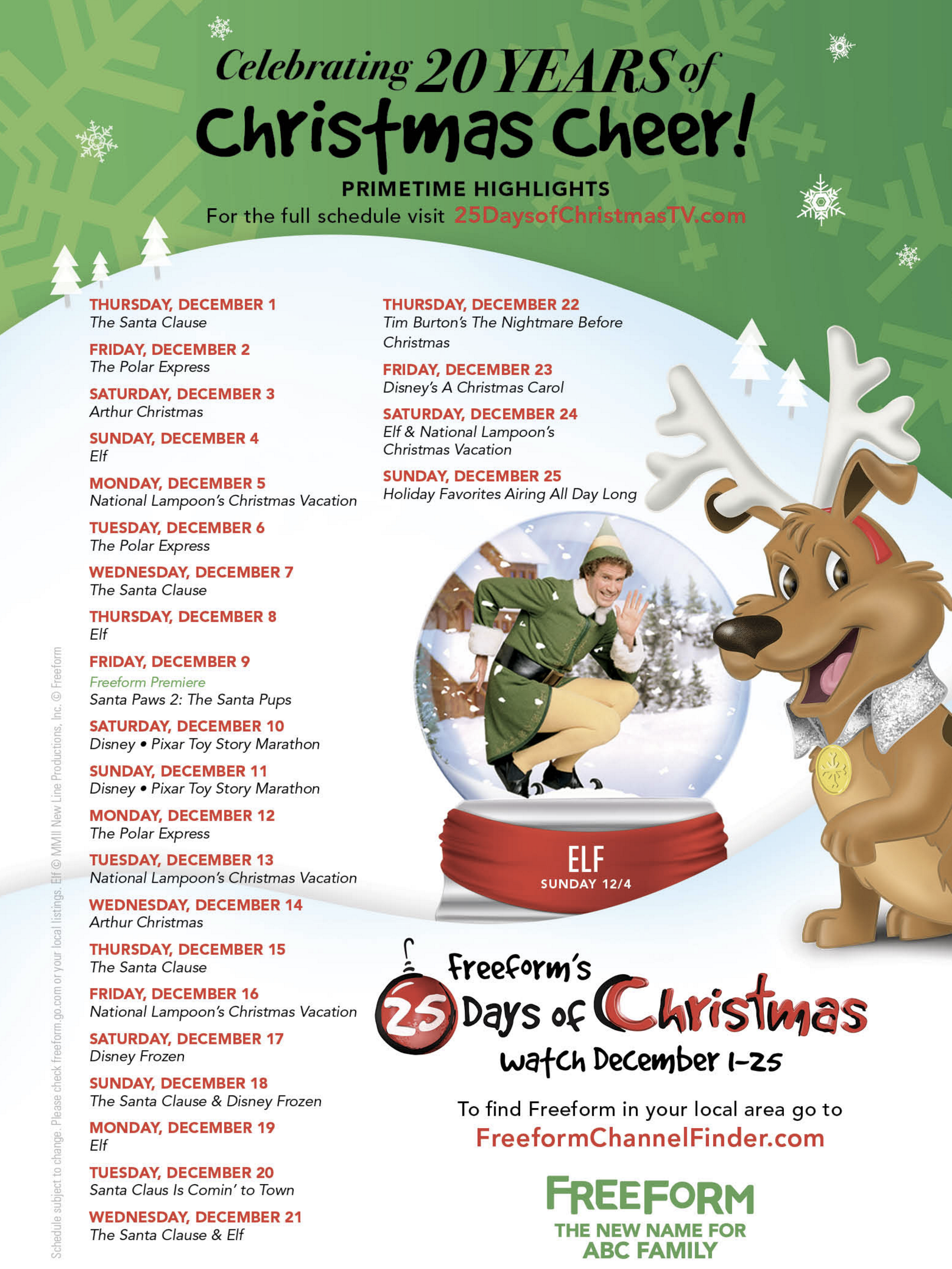 "Freeform (ABC Family) Celebrates 20 Years of Christmas Cheer with the ""25 Days of Christmas"" Programming Event Starting Thursday, December 1st"